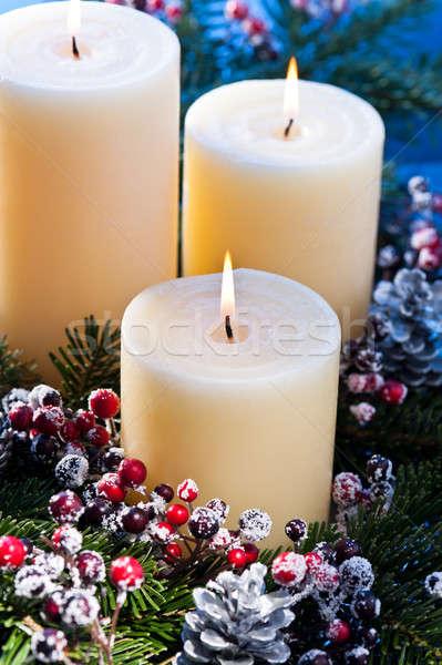 3  キャンドル 出現 花 アレンジメント クリスマス ストックフォト © 3523studio