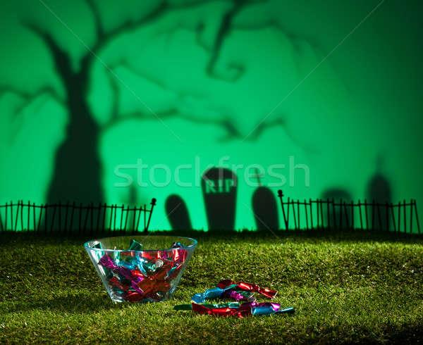 Halloween landschap boom kerkhof snoep ontwerp Stockfoto © 3523studio