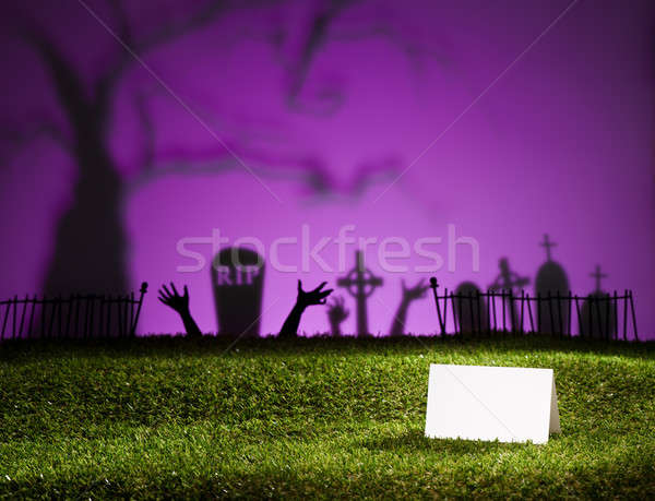 Halloween landscape with table card Stock photo © 3523studio