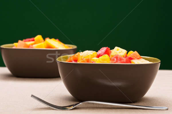 Two bowl of Mixed tropical fruit salad Stock photo © 3523studio