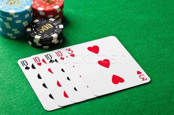 Stock photo: Four of a kind poker game
