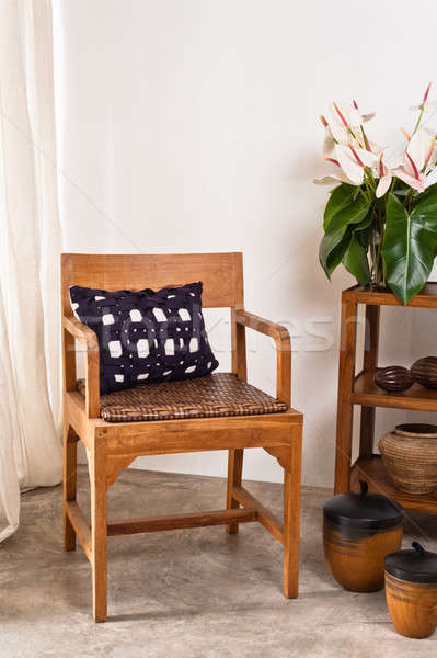 Stockfoto: Bruin · stoel · interieur · witte · muur · hout