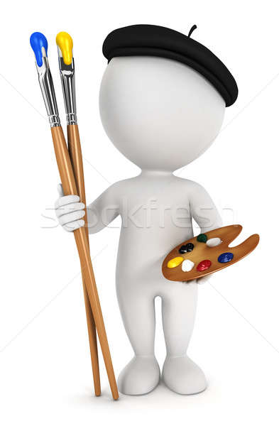 3d white people painter Stock photo © 3dmask