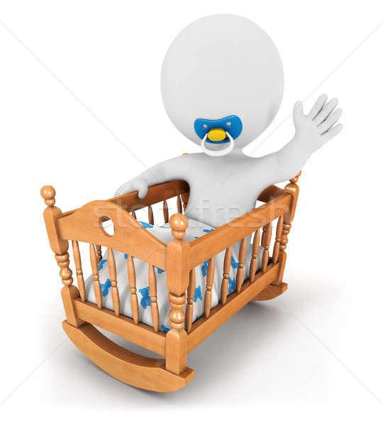 3D biali ludzie baby kołyska odizolowany biały Zdjęcia stock © 3dmask
