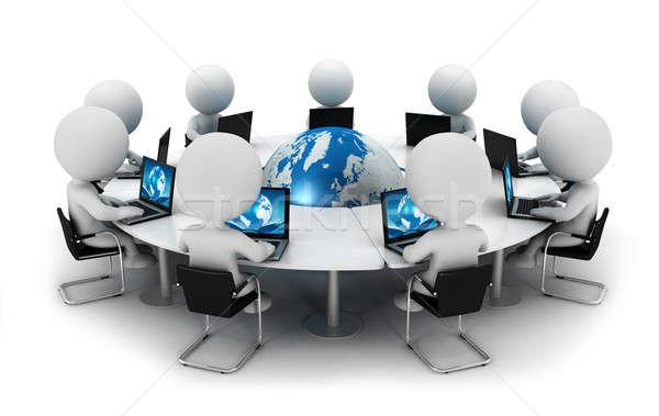 3D белые люди вокруг Мир сидящий Председатель Сток-фото © 3dmask