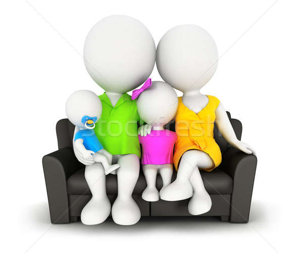 3d white people family sitting on sofa Stock photo © 3dmask