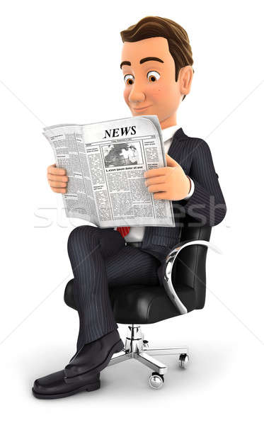 3d businessman reading a newspaper Stock photo © 3dmask