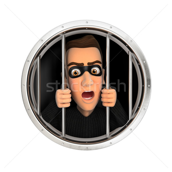 3d thief behind bars Stock photo © 3dmask