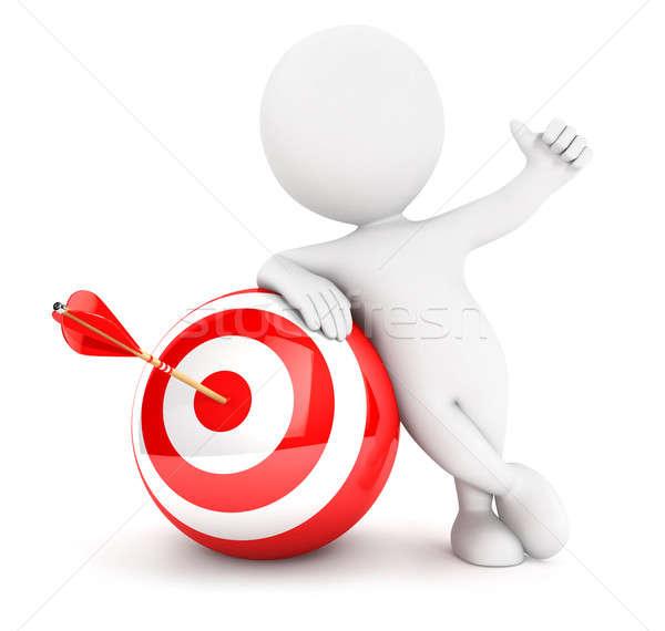 3d white people arrow in sphere target Stock photo © 3dmask