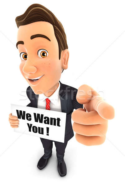 3d businessman with we want you message Stock photo © 3dmask