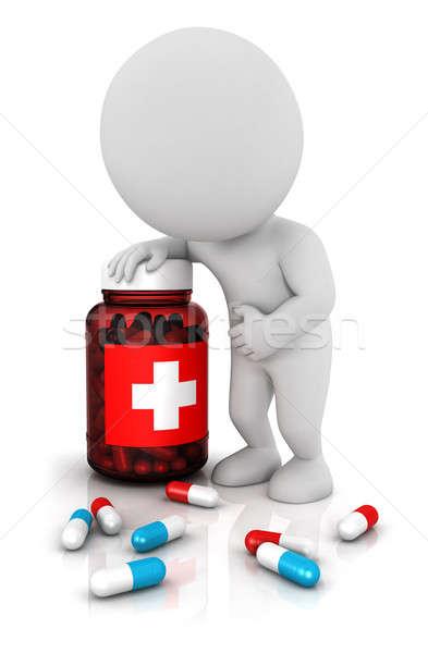 3D fehér emberek kék piros tabletták üveg Stock fotó © 3dmask