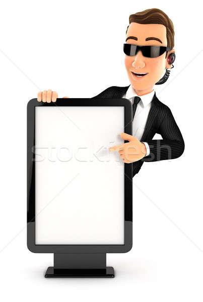 3D bezpieczeństwa agent wskazując billboard ilustracja Zdjęcia stock © 3dmask
