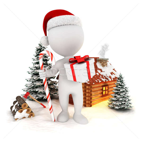 3d white people christmas scene Stock photo © 3dmask