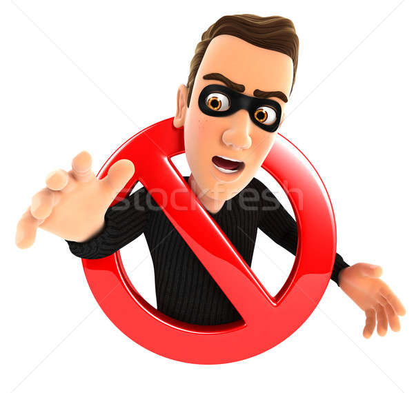 3d thief surrounded by a forbidden sign Stock photo © 3dmask