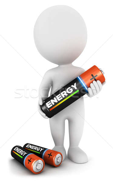 3d white people with a battery Stock photo © 3dmask