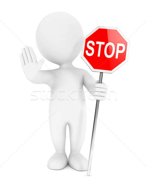3d white people stop sign Stock photo © 3dmask