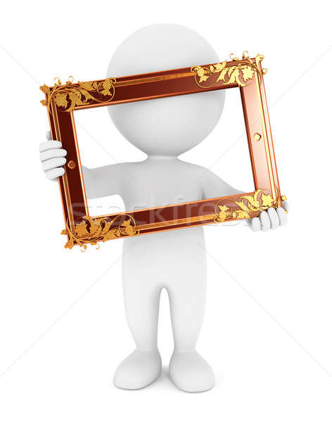 3d white people holding an old frame Stock photo © 3dmask