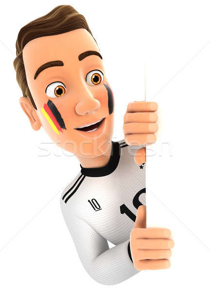 3d german soccer fan peeping over blank wall Stock photo © 3dmask