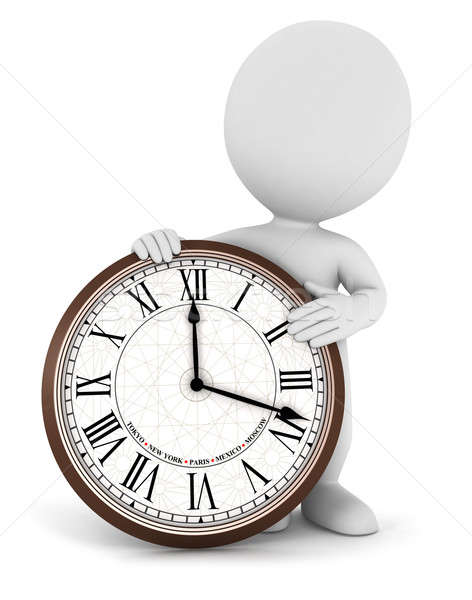 3d white people with a clock Stock photo © 3dmask
