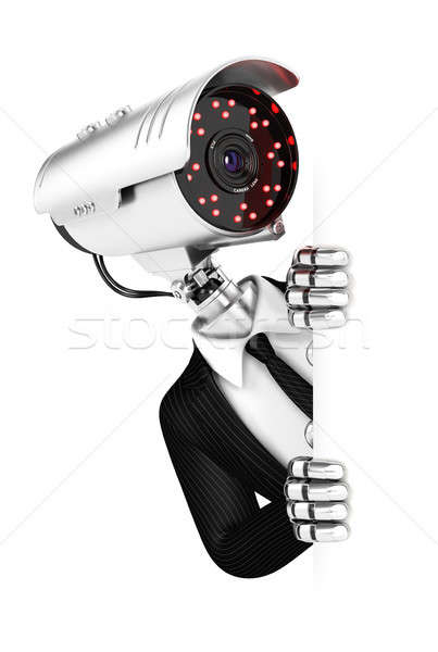 3d security agent with camera head peeping over blank wall Stock photo © 3dmask