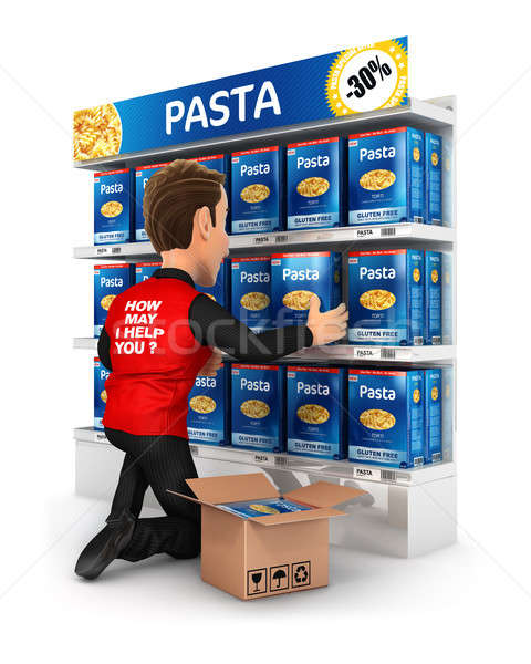 3d seller arranging packs of pasta in supermarket shelve Stock photo © 3dmask