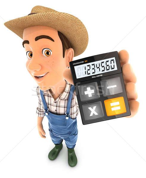 Foto stock: 3D · agricultor · calculadora · ilustración · aislado
