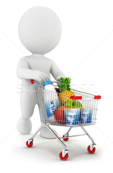 3D fehér emberek bevásárlókocsi izolált fehér kép Stock fotó © 3dmask
