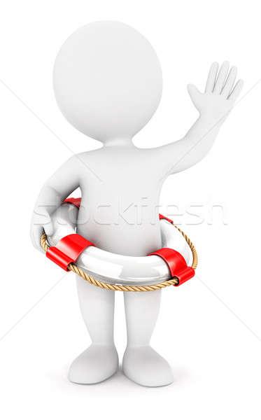 Foto stock: 3D · los · blancos · rescate · anillo · aislado · blanco