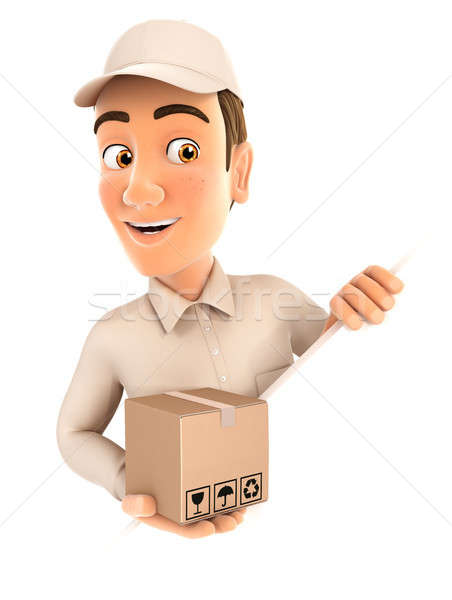 3d delivery man behind diagonal wall Stock photo © 3dmask