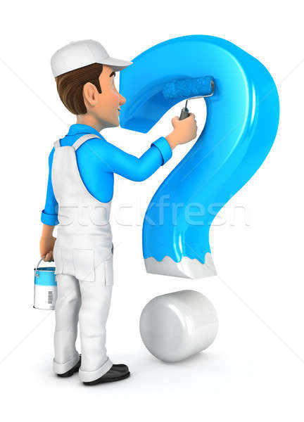 3d painter painting question mark Stock photo © 3dmask