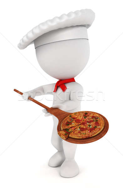 3d white people pizza cook Stock photo © 3dmask
