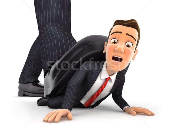3d big foot crushing businessman Stock photo © 3dmask