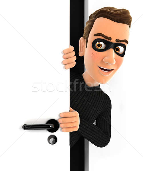 Stockfoto: 3D · dief · achter · deur · illustratie · geïsoleerd
