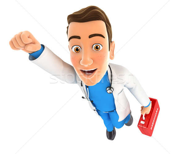 3d doctor flying with first aid kit Stock photo © 3dmask