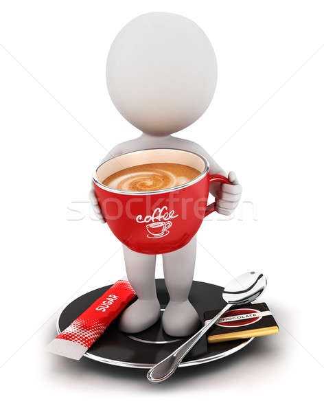 3d white people takes a coffee break Stock photo © 3dmask