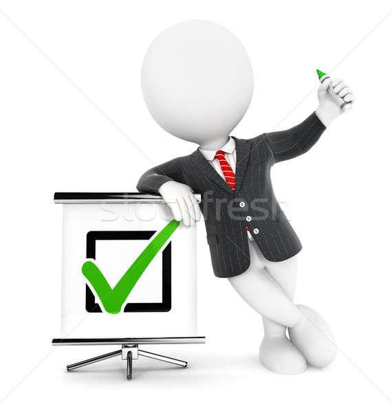 3D i bianchi imprenditore positivo verificare isolato Foto d'archivio © 3dmask