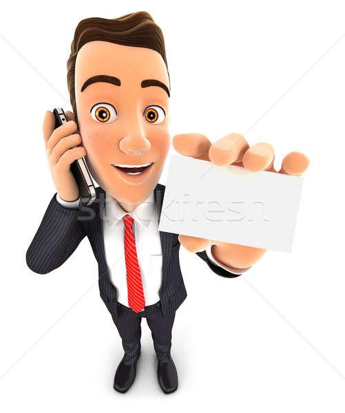 3D üzletember telefon üres kártya izolált fehér Stock fotó © 3dmask