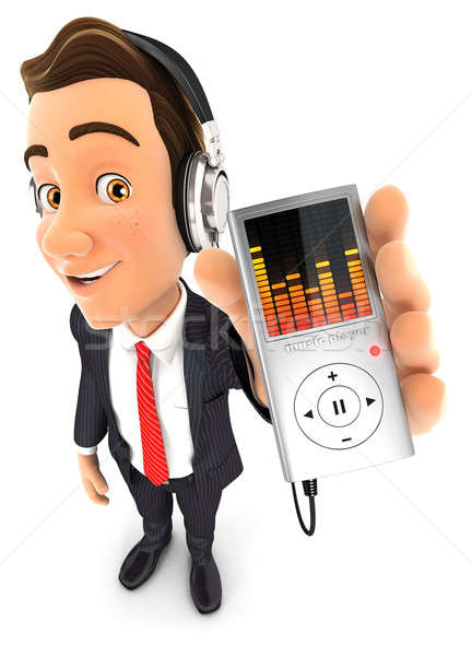 3d businessman listening music on mp3 player Stock photo © 3dmask