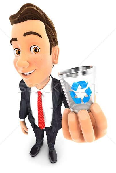 3D empresário cesto de lixo ícone ilustração Foto stock © 3dmask