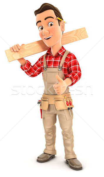 3d handyman carrying wooden plank on shoulder Stock photo © 3dmask