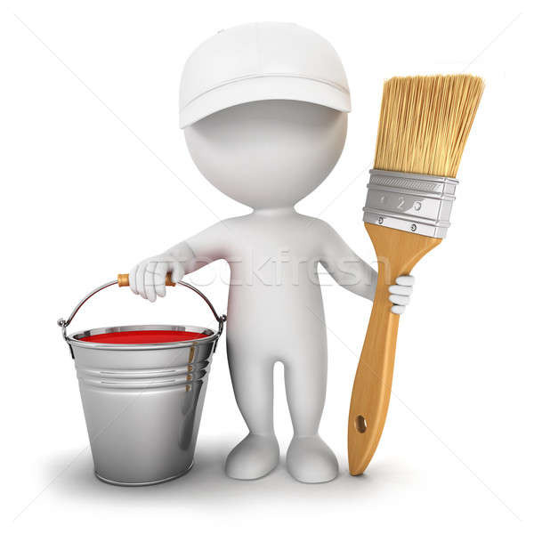 3d white people with brush and paint bucket Stock photo © 3dmask