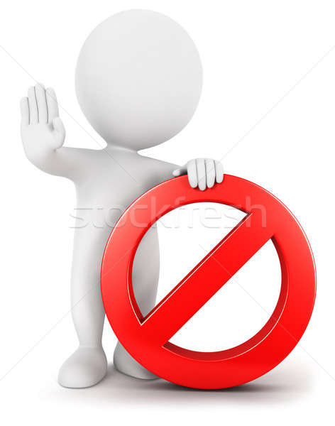 3d white people with forbidden sign Stock photo © 3dmask