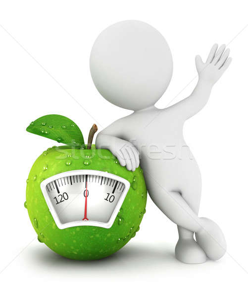 3d white people apple scale concept Stock photo © 3dmask