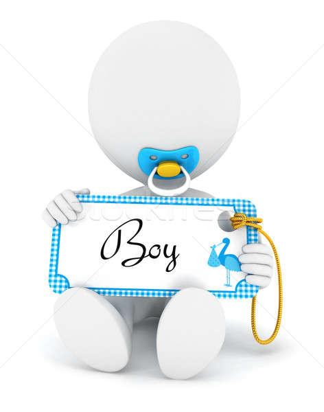 3D fehér emberek baba fiú tart névtábla Stock fotó © 3dmask