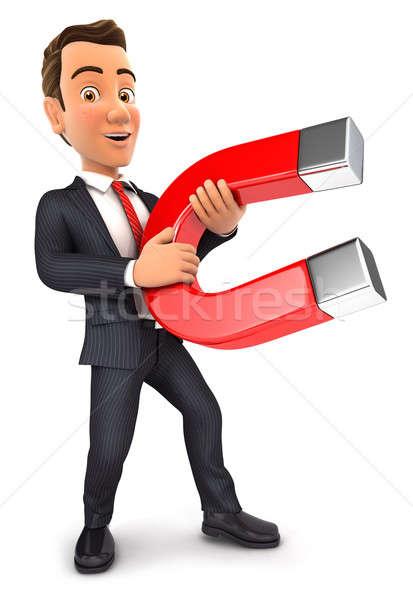 3D üzletember tart mágnes izolált fehér Stock fotó © 3dmask
