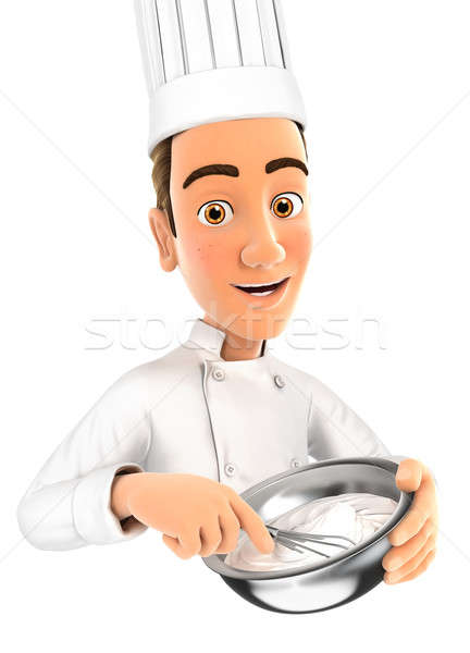 3d head pastry chef holding whisk and bowl Stock photo © 3dmask