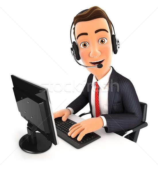 3D Geschäftsmann Call Center Illustration isoliert weiß Stock foto © 3dmask