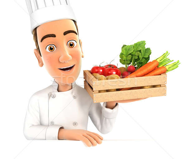 3d head chef holding wooden crate of vegetables Stock photo © 3dmask