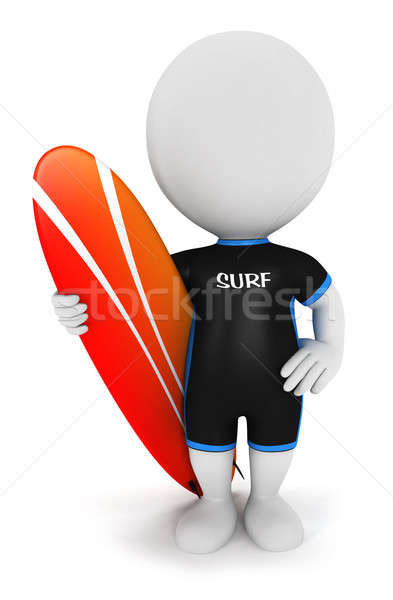 Stock photo: 3d white people surfer