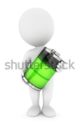 3D blancs vert batterie isolé blanche Photo stock © 3dmask